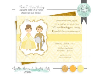 Printable INVITATION Princess and Knight Birthday Party. Jpeg or PDF file. Includes Hair Color of Choice. Yellow and Gold