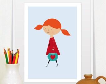 girl print, baby girl nursery art, nursery decor, girl illustration, redhead girl, freckles, wall art, baby girl gift, mid century modern