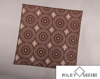Brown and Tan Geometric Design Pocket Square/Fashion Handkerchief