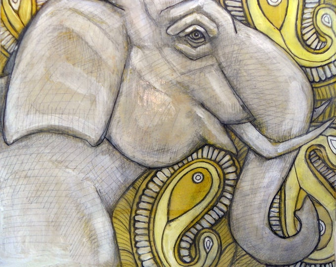 SALE PRICE! White Elephant Original Framed Painting by Lynnette Shelley