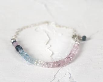 Ombre Aquamarine Bracelet - Multi Color Bracelet - Aquamarine Jewelry - March Birthstone -  Pink and Blue Bracelet - Gemstone Bracelet