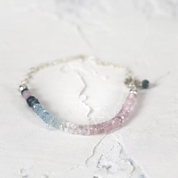 Ombre Aquamarine Bracelet - Multi Color Bracelet - Aquamarine Jewelry - March Birthstone -  Pink and Blue Bracelet - Gemstone Bracelet
