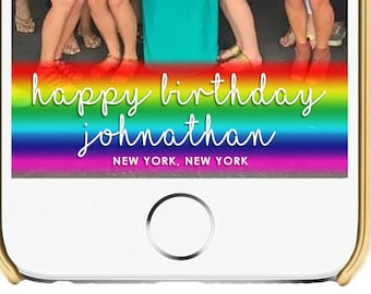 Rainbow Scroll with Script Name and Location Birthday Snapchat Filter 1022