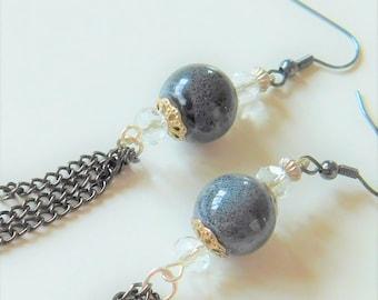 Earrings handmade, Statement earrings, Large earrings, Handmade jewelry her, Unique bohemian earrings, Long beaded earrings, Boho earrings