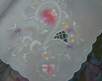 Pretty Vintage Hanky Handkerchief Silk Embroidered Japan Unused in Package