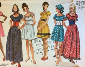1970a Vintage Women's Dress Sewing Pattern