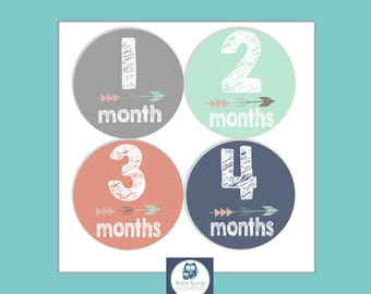 New Baby Gift, Monthly Baby Stickers, Baby Girl Month Stickers, Milestone Stickers, Monthly Bodysuit Stickers, Gift for Baby, Tribal Arrow