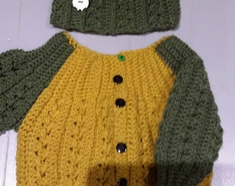 Handmade crochet baby hat and full button cardigan.