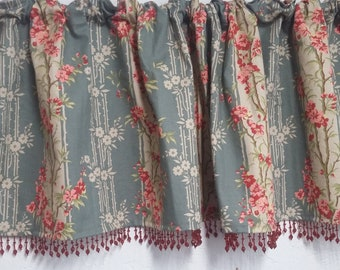 Floral print Valance by Covington with cranberry beaded trim