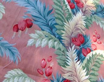 1950s Authentic BARKCLOTH Bark Cloth Tropical Print Florida Print Pink Green Barkcloth Drapery Fabric Pillow Fabric Vat Prints 5.5 yds UNCUT