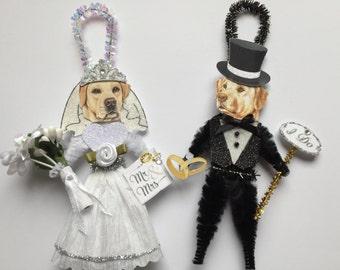 Labrador Retriever BRIDE & GROOM ornaments yellow lab Wedding Dog ornaments vintage style chenille ORNAMENTS set of 2