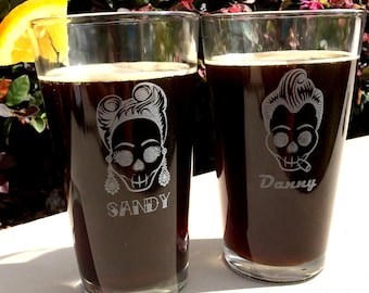 Rockabilly Skulls Personalized Engraved Beer Glasses // Skull glasses // Rockabilly couple gift // Skull gift // Etched skull glasses