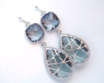Gray Earrings, Grey Earrings, Silver Earrings, Charcoal Earrings, Wedding, Bridesmaid Earrings, Bridal Earrings Jewelry, Bridesmaid Gifts