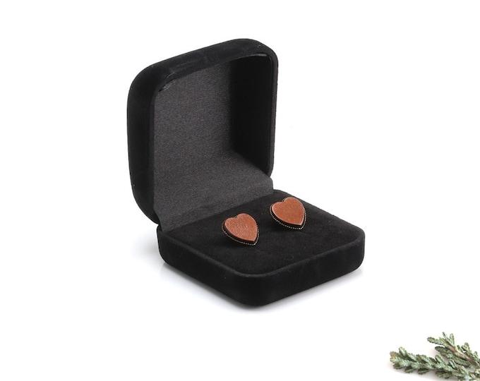 Heart Shape Studs, Heart Stud Earrings, Love Heart Studs,  Leather Earrings, leather stud, Leather Jewelry