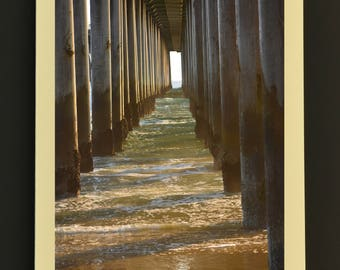 Photo Note Card, Pier Legs, Huntington Beach Pier, Photo Greeting Card, Ocean Theme Note Card, Note Card with Envelope, Handmade Note Card