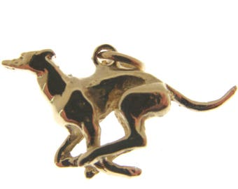 9 Carat Gold Running Greyhound Charm.  Fully hallmarked 9 carat Gold Greyhound Charm or Pendant