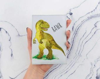Dinosaur Passport Cover With T-Rex Printed Passport Leather Case T Rex Passport Cover Leather Holder Cute Passport Case Travel Wallet CP6039