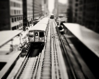 Black and White Train Print, Chicago photography, El train decor, Skyline photograph, boys room, playroom, wall art print, train home decor,