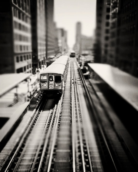 Black and white train print chicago photography el train