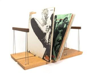 Handmade vinyl record storage rack for 75 LPs in oak