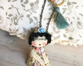 Gipsy Frida Kahlo doll long necklace. Handmade miniatures doll.