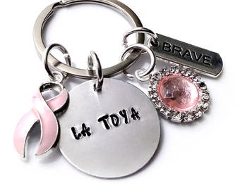 Breast Cancer Keychain Awareness Personalized Name Hand Stamped Gift
