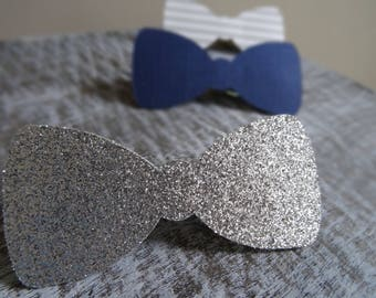 12 Little Man Clothespins, Don't Say Baby Clothespin game Silver Glitter, Navy, Light Gray & White