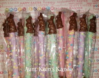 Easter Bunny Pretzel Rods - Gourmet Chocolate Covered Pretzel Rods - Individually Wrapped
