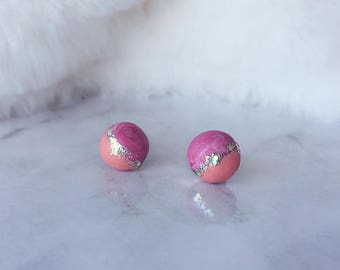 Polymer Clay Earrings/ Round Earrings/ Glitter Earrings/ Stud Earrings/ Handmade Earrings/ Surgical Steel