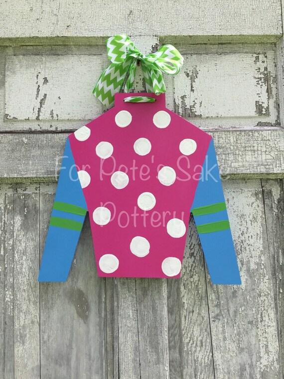 KENTUCKY DERBY door hanger, Ky Derby party, KY sign, Jockey silk hanger, Wood jockey silk, Horse racing decoration, Derby party decor