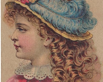 Vintage Edwin R. Clay Millinery & Fancy Goods Lithograph Victorian Trade Card, 1879