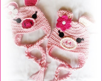 PDF Crochet Pattern Photo Tutorial -  This Little Piggy Beanie Earflap Hat Sizes Newborn to Adult Pattern Design - No. 74 by AngelsChest