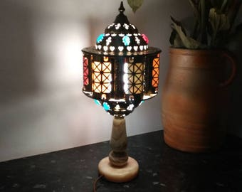 Moroccan / middle Eastern brass style table lamp/lantern with various coloured 'jewels' and marble base, circa 1960s.