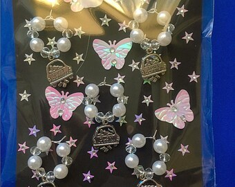 5 Wedding glass charms in pearl and clear beads
