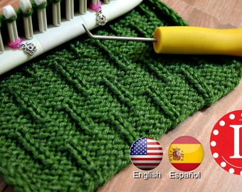Looms Knitting PATTERNS Caterpillar Stitch with Video Tutorial by Loomahat Includes Spanish - Patrón de Puntada | Tejer a Telar en Español