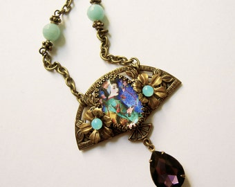 Geisha Necklace - Art Nouveau - Art Deco - Urban Gypsy - Boho Pendant - Purple  Aqua - Gift for girlfriend - Floral Necklace- Estate style