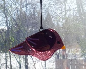 Fused Glass Bird Suncatcher, Purple Fused Glass Bird, Garden Art, Purple Stained Glass Bird Suncatcher, Purple Bird Ornament