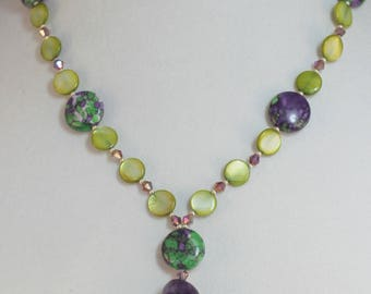 Green and Purple Amethyst and Mother of Pearl Necklace