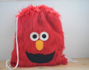 Monster backpack,kids backpack,plush backpack,kawaii backpack,shool bag,Elmo backpack,children backpack,draw string bag,string backpack