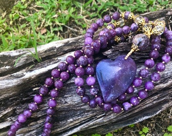 Divine Purpose, Worthiness, & Love Purple Lepidochrosite Mala with Charoite and Crystal Quartz accents
