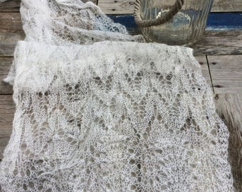 Fine knit lace design white scarf handmade Christmas gift