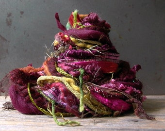 napa valley fringe effects™ fiber art yarn bundle 21yd . specialty textile ribbons yarns sample pack plum wine burgundy gold olive green