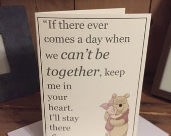 AA Milne, The Complete Tales of Winnie the Pooh 'Can't Be Together/In Your Heart Forever' Blank Greeting Card