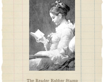 Girl Reading unmounted rubber stamp