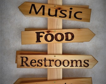 Event  Cedar Directional SIGN  (DUAL SIDED)  Sign Post (With Stake Base)  10 - 20 individual signs