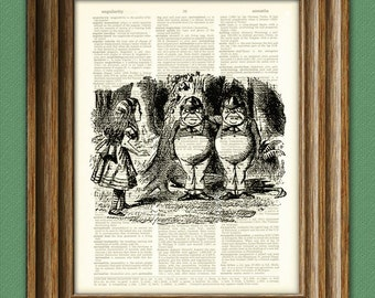 Tweedle Dee and Tweedle Dum Alice in Wonderland beautifully upcycled vintage dictionary page book art print