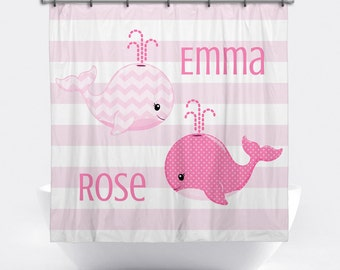 Genial Whale Personalized Shower Curtain For Girls   Pink Whale Shower Curtain    Custom Whale Bath Decor