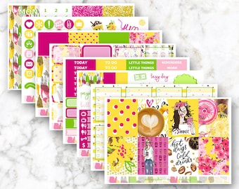 Summer Latte Weekly Planner Sticker Kit