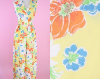 Vintage Leo Narducci Dress // 60s, Yellow Maxi Dress, 1960s, Floral, Mad Men, Women Size Small
