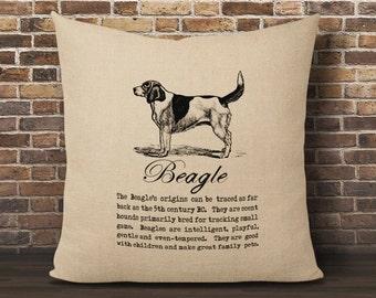 Beagle Pillow Cover, Faux Burlap pillow cover, Pillow 16x16 cover, Burlap pillow cover, Dog Lover Pillow, Dog Pillow, Vintage Dog Pillow
